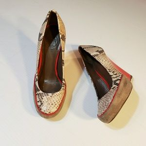 Tory Burch Sandra Python Red Patent Wedges 6M